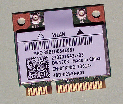 Dell Wireless DW1703 Wlan Model:AR5B225  WiFi 802.11a/b/g/n Bluetooth 4.0
