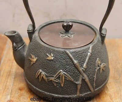 8 Archaic Japan Iron Silver Gilt Bamboo Bird Portable Flagon Kettle Wine Tea Pot