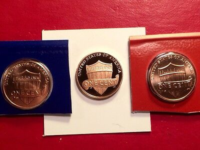2013 S Lincoln Shield Cent Gem Deep Cameo Proof Penny With 2013-P & 2013-D Mint 7