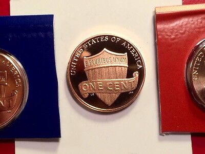 2013 S Lincoln Shield Cent Gem Deep Cameo Proof Penny With 2013-P & 2013-D Mint 9