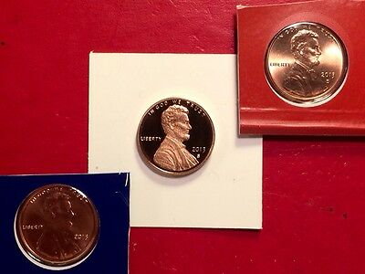 2013 S Lincoln Shield Cent Gem Deep Cameo Proof Penny With 2013-P & 2013-D Mint 12