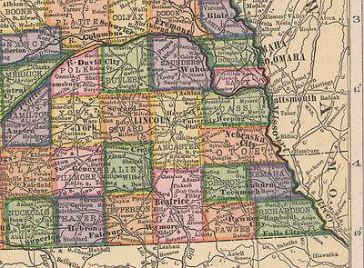 1909 Mapa ~ Nebraska Estado Indian Reservation Boundaries Militar Bosque Reserva 2