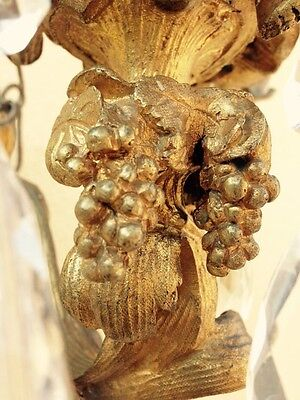 Pair Of Antique 19th Century Gilt Bronze Wall Sconces With Crystals 5