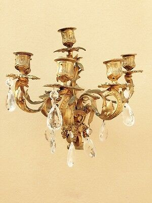 Pair Of Antique 19th Century Gilt Bronze Wall Sconces With Crystals 7
