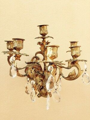 Pair Of Antique 19th Century Gilt Bronze Wall Sconces With Crystals 8