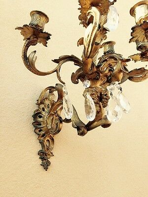Pair Of Antique 19th Century Gilt Bronze Wall Sconces With Crystals 2