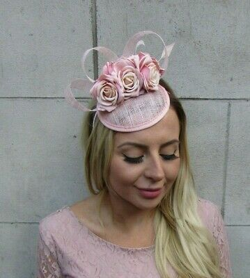 Light Nude Blush Pink Flower Feather Hat Hair Fascinator Races Wedding Rose 8097 2
