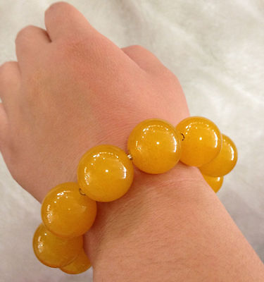 Certification of 100% natural jade yellow agate bead bracelet 20 mm 2