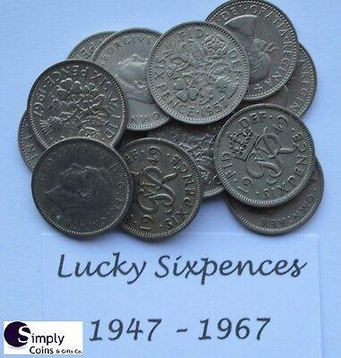 Lucky Silver Sixpences 1947- 1967 - Birthday/anniversary: BUY 2 get 2 FREE! P&P 3