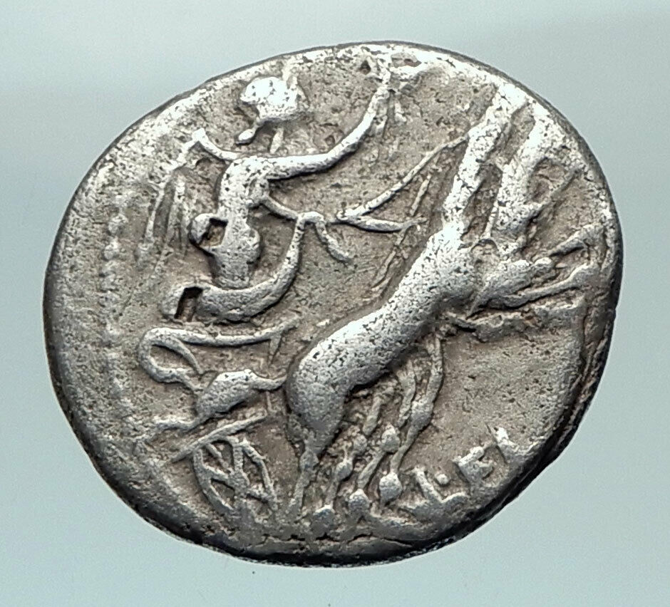 Roman Republic 109BC Rome Authentic Ancient Silver Coin Victory Chariot i80478 2