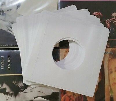 "40 x NEW WHITE PAPER VINYL RECORD SLEEVES FOR SINGLES EP 45'S OR 7"" VINYL 20lb 3"