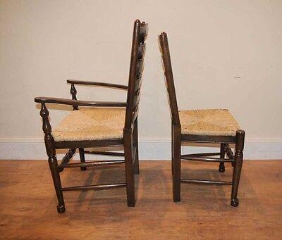 8 Solid Oak Pad Foot Ladderback Kitchen Chairs 10