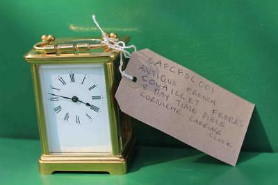 Antique French Couaillet Freres 8 Day Time Piece Corniche Carriage Clock 10