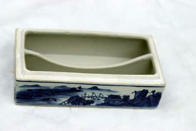 Antique Chinese Qianlong Blue and White Box Mountain Water Scene 11