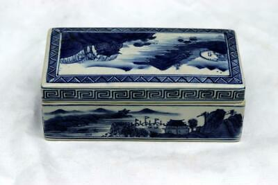 Antique Chinese Qianlong Blue and White Box Mountain Water Scene 5