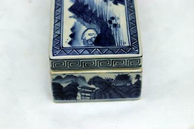 Antique Chinese Qianlong Blue and White Box Mountain Water Scene 7