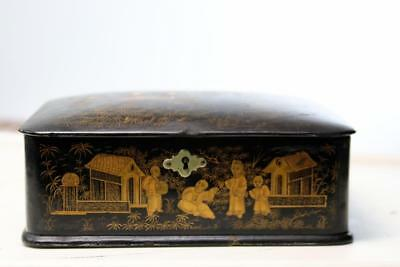 Antique Chinese Lacquer Letter  Box 1860's 2