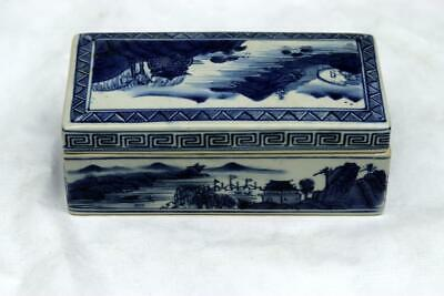 Antique Chinese Qianlong Blue and White Box Mountain Water Scene 6
