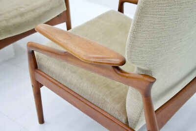Pair(2) of Teak Lounge Chairs by John Bone Denmark 60s 60er Chair Denmark 11
