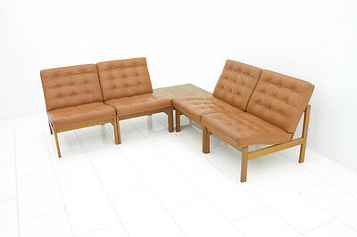 Modular Leather Lounge Chairs from Torben Lind & Gjerløv France & Son Sofa Table 4