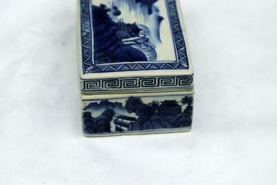 Antique Chinese Qianlong Blue and White Box Mountain Water Scene 4