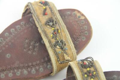Antique Child's Indian Middle Eastern Hand Tooled Leather & Beaded Shoes Sandals 5