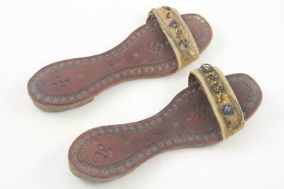 Antique Child's Indian Middle Eastern Hand Tooled Leather & Beaded Shoes Sandals 2