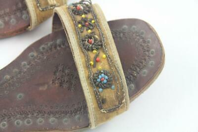 Antique Child's Indian Middle Eastern Hand Tooled Leather & Beaded Shoes Sandals 4