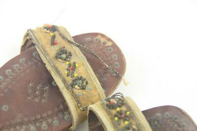 Antique Child's Indian Middle Eastern Hand Tooled Leather & Beaded Shoes Sandals 6