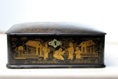 Antique Chinese Lacquer Letter  Box 1860's 3