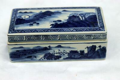 Antique Chinese Qianlong Blue and White Box Mountain Water Scene 2