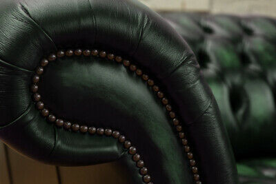 Traditional 3 Seater Antique Green Leather Chesterfield Sofa Couch Chair 2