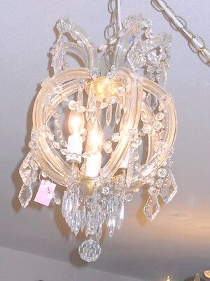 Antique Round 3 Light Crystal Chandelier w/ Unique Prisms, Glass Over Brass Arms 3