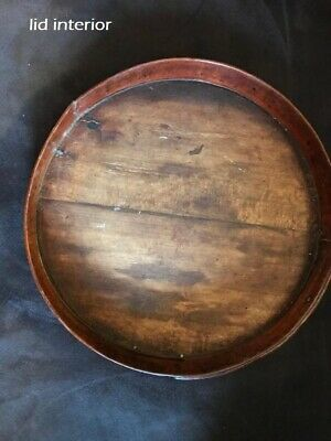 "Antique Primitive Pantry Box Wood Handle Pumpkin Patina Thick Walls 13""  aafa 6"