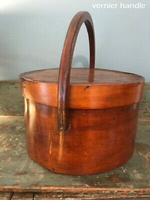 "Antique Primitive Pantry Box Wood Handle Pumpkin Patina Thick Walls 13""  aafa 10"