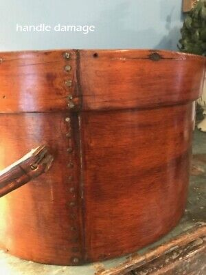 "Antique Primitive Pantry Box Wood Handle Pumpkin Patina Thick Walls 13""  aafa 4"