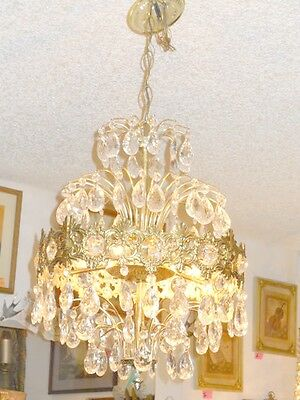 Antique European Coronal Brass and Crystal 6 Bulb Chandelier w/ 2 Types Prisms 2