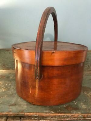 "Antique Primitive Pantry Box Wood Handle Pumpkin Patina Thick Walls 13""  aafa 2"