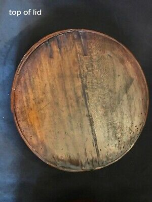 "Antique Primitive Pantry Box Wood Handle Pumpkin Patina Thick Walls 13""  aafa 7"