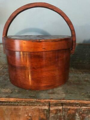 "Antique Primitive Pantry Box Wood Handle Pumpkin Patina Thick Walls 13""  aafa 8"