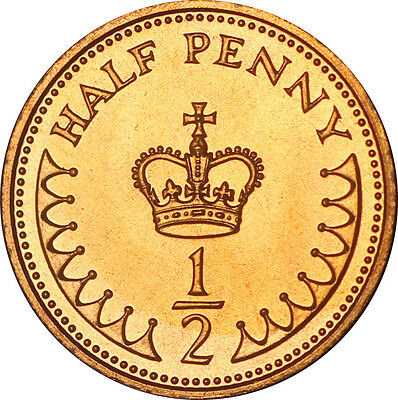 PROOF ENGLISH DECIMAL HALF PENNIES 1/2ps OLD COINS 1971 TO 1984 2