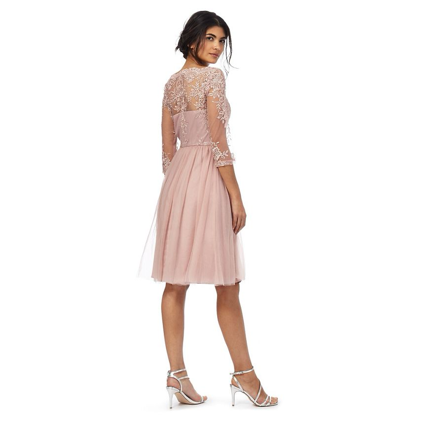 e3a578b1806c5 Chi Chi London Floral lace Embroidered Sleeves Dress 8 10 12 14 16 Pink 2 2  of 3 ...