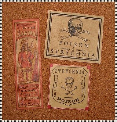 13 POISON VINTAGE LOOK VICTORIAN APOTHECARY LABELS Halloween/Steampunk/Primitive 5