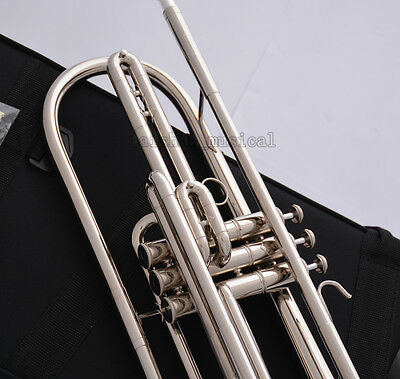 Professional Silver nickel Bb Bass Trumpet 3 Piston Vavles JINBAO Horn With Case 3