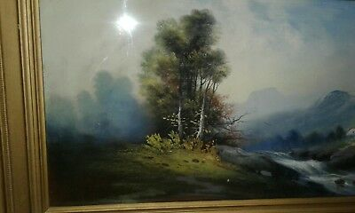 art print~IN THE MIDST~William Henry Chandler seascape rocks waves vtg rep 32x15