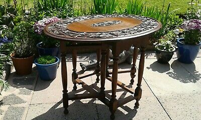 Antique Gateleg Oak Table  Drop Leave Table With Chinese  carved Top☆Very Rare 3