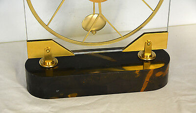 French Style Thin Glass Pinwheel Escapement Big Wheel Marble Base Skeleton Clock 11