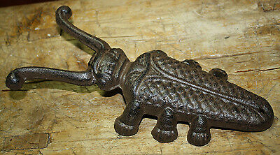 Cast Iron Antique Style BEETLE Door Stop Boot Jack Brown Finish Rustic Western 2