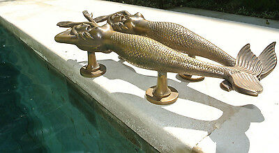 "PAIR large MERMAID solid brass door PULL old style heavy house handle 15"" aged B 6"