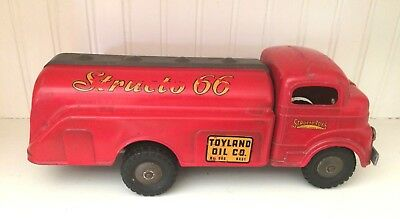 Vintage Pressed Steel Toys -Structo 66- Truck Toyland Oil/ Gas 1950'S Red 2